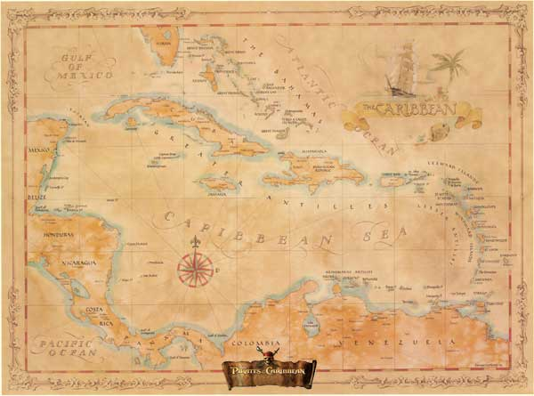 buy pirates of the caribbean wall map